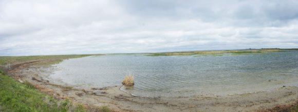 На ночевку мы решили встать на берегу слабосоленого озера Камышлыбаш (Камыслыбас).