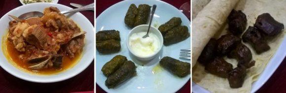 На второе были традиционные блюда армянской кухни: хашлама (баранина или ягнятина с бульоном, белым луком, помидоры и сладким перцем) - съедобно, но жирновато. Долма (рис и отварной мясной фарш завернутые в листья винограда) - вкусно. Тжвжик (обжаренные куски печени, сердца, легкого и курдючное сало).