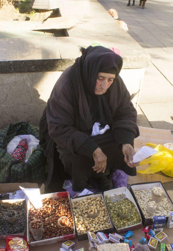 Купили орешков в кулечках у очень колоритной бабушки.