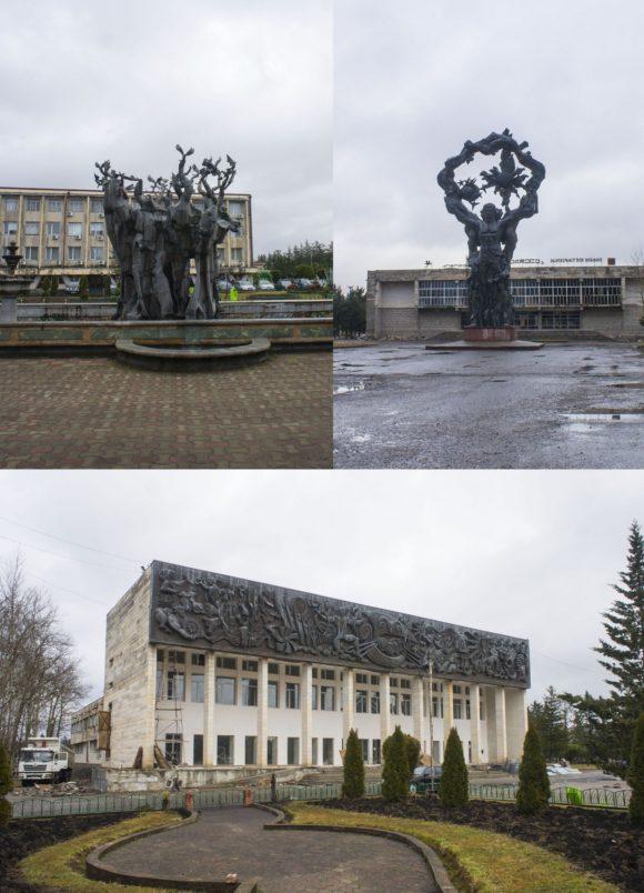 Хоби встретил очередными демоническими памятниками справа памятник Прометею, внизу - театр с металлическим барельефом, перед ним (в левом углу) фонтан