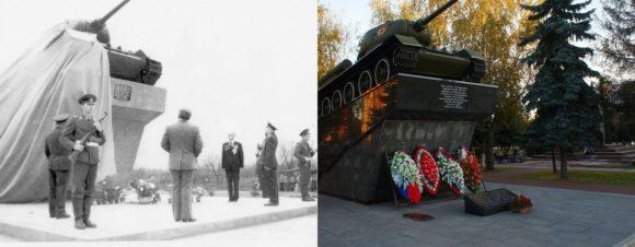 Советская площадь. Открытие монумента – танка Т-34, состоявшееся 9 мая 1980 года в честь 35-ти летия Великой Победы.