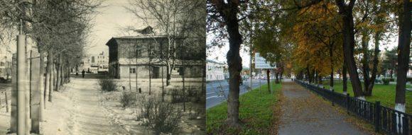 На снимке 1967-го года виден так называемый «Дом крестьянина» или «Дом колхозника», в 1972-ом году он сгорел. На современном снимке справа виден сквер имени Алексея Михайловича Прокина - выдающегося школьного учителя, историка, краеведа.