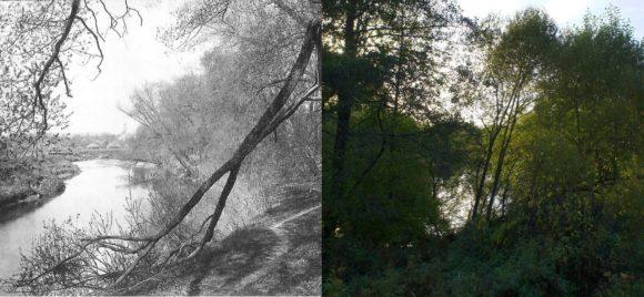 Русло реки Лопасни, как мы видим сильно заросло с 1895-го года. На старом фото видны дома села Зачатьевское. Доказательством, что фото сделано с одной и тоже точке служит купол колокольни Зачатьевской церкви, виднеющийся вдали на обеих фотографиях.