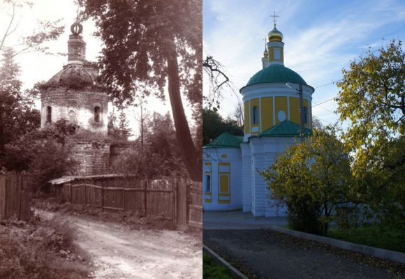 Усадьба Садки. Церковь Усекновения Главы Иоанна Предтечи, построенная в 1771 году. Это фото сделано в 1960 году в тот момент, когда храм был заброшен. Сейчас церковь восстановили и в ней вновь проводятся службы.