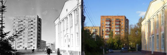 Здание Горкомом поближе, сейчас в нем расположены музыкальная школа и «Музей памяти 1941-1945 гг.» Виден жилой дом по ул. Чехова, 67.