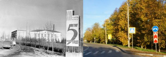 Перекресток улиц Чехова и Солнышевской. На фотографии 1971-го года деревья совсем еще маленькие и хорошо видно здание Горкомом КПСС.