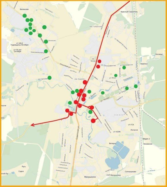 вот такой карты, где отмечен наш маршрут и точки о которых я Вам рассказала. А справа карта, на которой я отметила все точки, старинные фото которых мне удалось найти, как Вы видите их очень много, возможно, я расскажу о них в следующий раз.